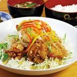鶏唐の甘酢あんかけ定食